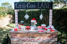 Candy Cane Lane | CatchMyParty.com: Drink Station Ideas