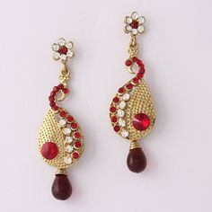 Red Drop Diamond Earring By Variation