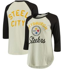 Pittsburgh Steelers Junk Food Women's All American Raglan 3/4-Sleeve T-Shirt - White/Black - $44.99