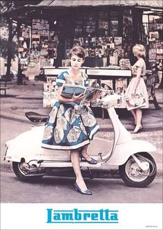 Lambretta,not to be confused with Vespa Retro Scooter, Lambretta Scooter, Vespa Scooters, Piaggio Vespa, Vespa Girl, Scooter Girl, Vintage Bicycles, Vintage Motorcycles, Italian Scooter