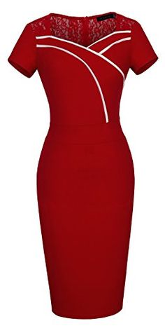 HOMEYEE Womens Elegant Lace Short Sleeve Black Sheath Pencil Dress B318 8 Red ** Click on the image for additional details. (This is an affiliate link) Sheath Dresses, Short Sleeve Dresses, Styles, Pencil Dress, New Outfits, Lace Shorts, Look, Bodycon Dress, Clothes For Women