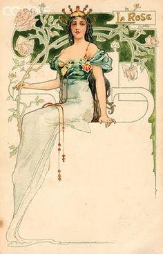 Alphonse Mucha-Vintage Flower Girls. La Rose. Would make a superb bookplate.