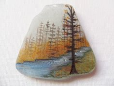 Reserved for BEV autumn stream - Original acrylic miniature painting on frosted sea glass by ShePaintsSeaglass on Etsy