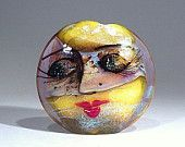 Masked Moon Face Focal bead- lampwork by Astrid Riedel- 42 mm Lentil