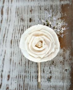 Ready to Ship Soft White Wedding Boutonniere  Sola by TheSunnyBee