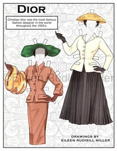 Beautifully drawn original paper dolls. Doll and 7 costumes printed on 5 sheets of 8.5x11 card stock.