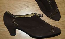 vintage Magdesians brown leather zip front booties Granny ankle boots 7.5 NEW