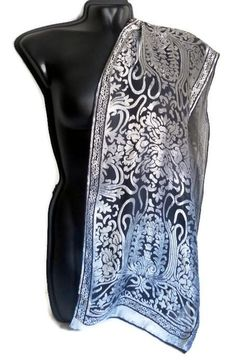 Vintage black silvery Silk Velvet neck scarf ornament design neck scarf grey Women accessories