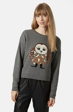 Topshop Sequin Owl Sweater available at #Nordstrom