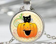 Halloween Cat Pumpkin Necklace Halloween Pendant Necklace or Halloween Keyring Halloween Jewelry Halloween Pendant Orange Black