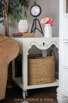 Such an awesome table makeover.  The addition of the shelf and wheels, awesome!! How simple would this be to recreate!!