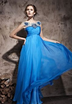 Fancy - Light Royal Crewneck Super Beautiful Prom Formal Ball Party Long Evening Dress - Occasion Dresses - Merpher.L
