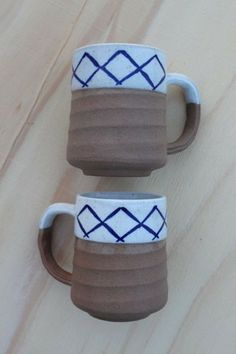 Pottery Coffee Mugs, Set of 2
