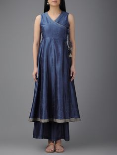 Buy Blue Chanderi Angrakha Kurta with Mukaish Women Kurtas Dreaming in Color Kalidar angarkha and palazzos Online at…