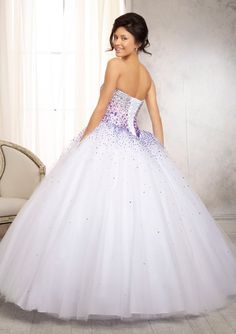 Quinceanera Dress From Vizcaya By Mori Lee Style 88086 Ombré Beaded Bodice on a Tulle Ball Gown Skirt