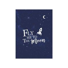 Lilipinso Kinderzimmer-Poster 'Fly me to the Moon' dunkelblau/weiß bei Fantasyroom online kaufen Space Themed Nursery, Nursery Themes, Nursery Art, Nursery Ideas, Memo Boards, Wall Stickers Space, Wall Decals, Wall Art, Poster Online