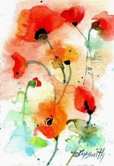 Poppies - ACEO, painting by artist Kay Smith