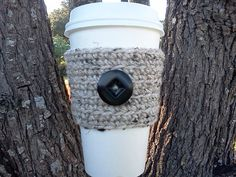 Coffee Cup Cozy/Sleeve - Acrylic Crochet Cozy in Neutral Tones - Great Gift, Stocking Stuffer - READY TO SHIP - $6.50 USD