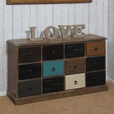 Natural Drift Wood & Multi Coloured 12 Drawer Unit Drawer Unit, Drift Wood, Drawers, The Unit, Cabinet, Lifestyle, Storage, Natural, Furniture
