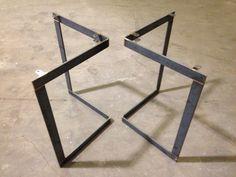 Chevron Metal Table Base Legs, for dining table Furniture Legs, Steel Furniture, Industrial Furniture, Furniture Projects, Table Furniture, Furniture Design, Boardroom Furniture, Wood Steel, Wood And Metal
