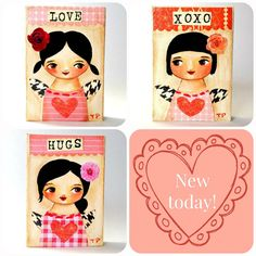 ORIGINAL MINI Valentines girl LOVE red rose tiny aceo by tascha