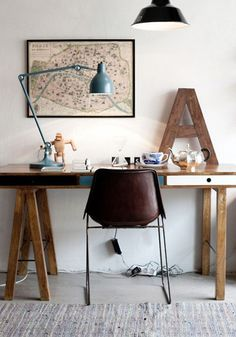 wood desk + chair + lamp