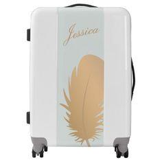 #pretty - #Pretty Feminine Rose Gold Feather Name Luggage