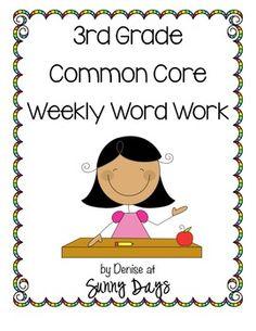 Third Grade Common Core Weekly Word Work (yearlong pack) #WordWork #Teacher {paid}