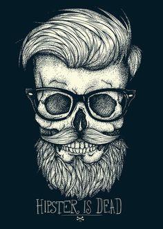 hair style, hipster, lunette, black & white, mustache, skull