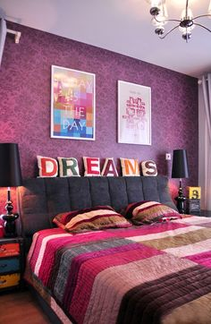 Pink color bed room design #grand #bed room #designs