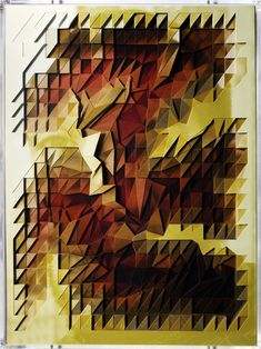 Lucas Simões creates very dramatic and three-dimensional works created from portraits. He crafts a pattern and cuts away pieces from each photograph and then stacks them on top of one another to get a geometric topographic effect.