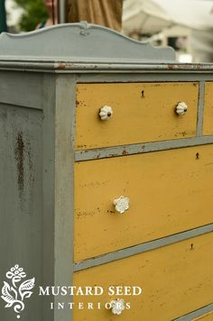 Trendy Distressed Furniture Ideas Dresser Redo Miss Mustard Seeds Ideas Yellow Painted Furniture, Distressed Furniture Painting, Colorful Furniture, Paint Furniture, Furniture Projects, Furniture Makeover, Bedroom Furniture, Modern Furniture, Furniture Design