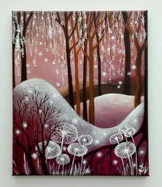V+začarovaném+lese++Malba+akrylovými+barvami+na+plátně.+Plátno+je+napnuté+na+dřevěném+blind+rámu,+malovány+i+strany,+rámování+není+potřebné.+Rozměry+25+x+30+cm.
