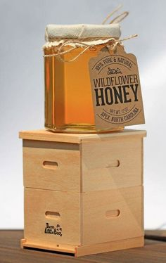 Mini beehive with glass hex honey jar Wood Packaging, Honey Packaging, Jar Packaging, Packaging Design, Honey Bottles, Honey Jars, Honey Logo, Honey Label, Honey Brand