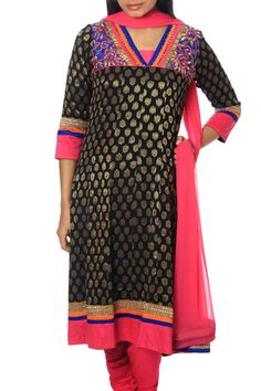 Jacquard georgette suit with kalidar embroidered kurta combined with pink churidar and georgette dupatta.