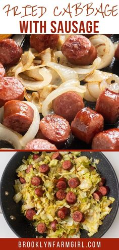 Easy Fried Cabbage with Sausage skillet meal, ready in 30 minutes for dinner. Kielbasa sausage is cooked with onions and cabbage to make a simple delicious recipe! Sausage Cabbage Skillet, Fried Cabbage With Sausage, Kielbasa Sausage, Easy Cabbage Recipes, Ham And Cabbage Soup, Meaty Lasagna, Slow Cooker Kielbasa, Delicious Dinner Recipes, Dinner Dishes