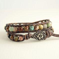 Natural rustic semiprecious gemstone wrap by SinonaDesign on Etsy, €30.00