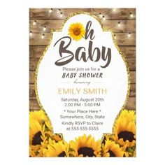 Oh Baby Shower Rustic Sunflowers & String Lights Card - rustic country gifts style ideas diy Baby Shower Invites For Girl, Girl Shower, Baby Shower Parties, Baby Shower Themes, Baby Shower Invitations, Baby Shower Gifts, Shower Ideas, Shower Favors, Sunflower Nursery