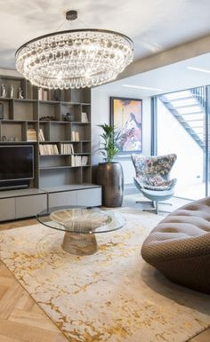 Our stunning Levantine Gold designer rug in a chic modern living room created by Jo Berryman