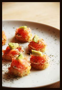 salmon snacks on toasted bread with horseradish lime cream