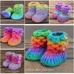 Adorable Crocodile Stitch Crochet Booties Pattern