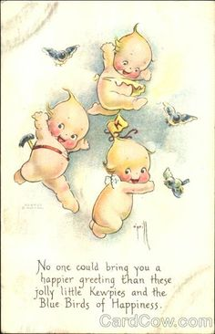 Dancing Kewpies Vintage Postcard