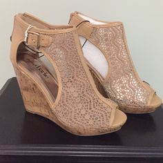 Tan Cork Wedges w/Lace - Size 9 - NWT AMAZING Tan Wedges from Charming Charlie's - SOOO cute but unfortunately they are too small for me! Soooo bummed!!  At least I was able to snag them in navy!!  . Heel height is a little over 4 1/2 in.  They are actually REALLY comfortable shoes!! Charming Charlie Shoes Wedges