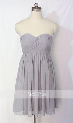 Gray Bridesmaid Dress Short Grey Chiffon Strapless by AlexDress