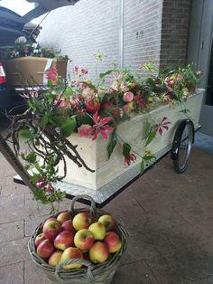 Grafstuk in opdracht voor fruitteler. Gloriosa met Esparanche rozen .