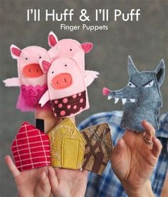 Three little Pigs finger puppets-maybe hand puppets Sewing For Kids, Diy For Kids, Crafts For Kids, Felt Finger Puppets, Hand Puppets, Felt Puppets, Finger Puppet Patterns, Felt Stories, Three Little Pigs