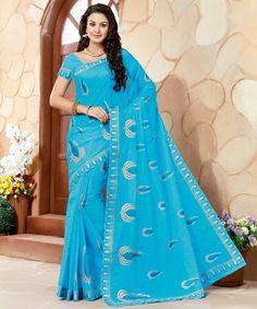 9e3b3bd5b8f747 Firozi Color Cotton Casual Wear Sarees   Mianvi Collection YF-57525