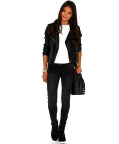 Pabla Stone Wash Jeans - Jeans - Missguided and leather jacket