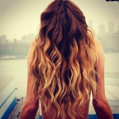 If I never dyed my hair again, it would look like this! Mousey/dark at the top, dirty blonde at the bottom.