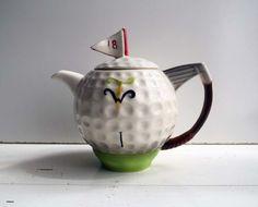 Vintage Tony Wood Staffordshire England Golf Ball Novelty Teapot